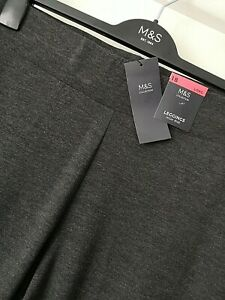 LADIES M&S SIZE 18 LONG CHARCOAL GREY PULL ON SOFT STRETCH LEGGINGS FREE POST