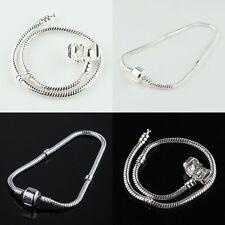 Fashion Silver Snake Chain Bracelet Fit European Charm Beads  DIY Wholesale