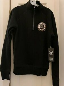 NWT Boston Bruins 47 Brand Men's Small 1/4 Zip Mock Pullover Black Sweatshirt