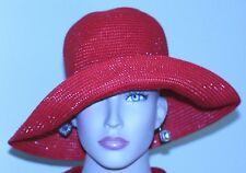 "vintage womans HAT LIPSTICK RED BETMAR FLOPPY BRIM SHIMMERS 21 1/2"" CIRCUM. GR8T"