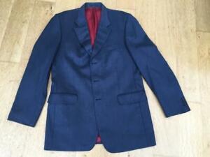 "VINTAGE CROMBIE Blue Blazer/Jacket Wool 99% Cashmere 1% LARGE  Chest  42"""