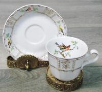 HEINRICH Germany DEMITASSE COFFEE TEA CUP & SAUCER SET Robin Finch Cardinal Bird