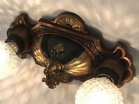 Antique Vtg Art Deco Flush Mount Ceiling, Wall Vanity Fixture 2 Bulb Gold Green