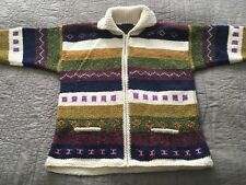 Otavalo Native American Handmade Ecuador Wool Cotton Zip L Sweater Cardigan EUC