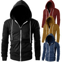 Fashion Men's Slim Zipper Hoodie Warm Hooded Sweatshirt Coat Jacket Outwear Tops