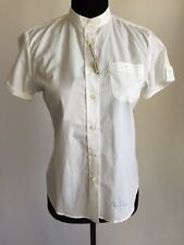 NEW BURBERRY WHITE STRECH PINSTRIPES SHIRT BUTTON DOWN BLOUSE SMALL