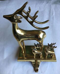 """Vintage Solid Brass Reindeer Arm Hook Mantel Shelf Stocking Holder Hanger 10"""""""