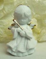 Angel Figurine White Ceramic Gold Halo Wingtips 1996