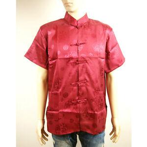Chinese Orientalische Herren Kung Fu Stil Rot Top Hemd Schrift Charms Drachen