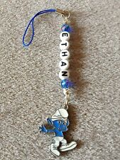 SMURFS CLUMSY SMURF  DS MOBILE BAG CHARM PERSONALISED GIFT ANY NAME KITSCH