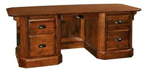 Luxury Amish Traditional Executive Desk Office Furniture Solid Wood 82""