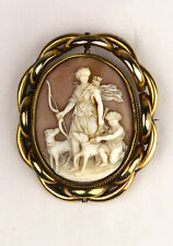 Antique shell pinchbeck cameo locket brooch Artemis Diana finely carved 7 x 6 cm