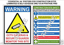 CONSTRUCTION SITE 2 LAMINATED A4 POSTERS SIGNS HEALTH AND SAFETY CCTV SECURITY
