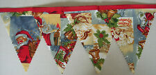 Traditional Vintage Father Christmas Fabric Bunting Decoration 2mts Gift