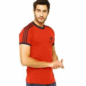 Adidas Mens Originals California Red with blue stripes T-Shirt S18427