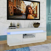 51'' High Gloss TV Stand Entertainment Console Cabinet Unit w/ RGB LED Lights