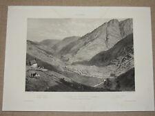 LITHOGRAPHIE XIXème  VILLAGE DE BOSSOST  PYRENEES  ESPAGNE  CATALOGNE