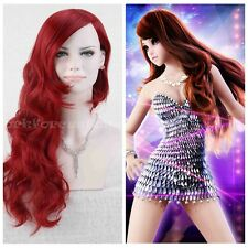 2015 New Women's Long Red Anime Cosplay Heat Resistant Hair Wig Wave Curly Wigs