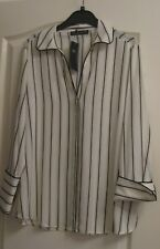 M/S LADIES CREAM STRIPED L/S SHIRT/ BLOUSE - SIZE 10  (NEW)