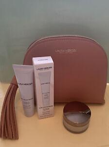 LAURA MERCIER Pure Canvas Hydrating Primer & Translucent Loose Powder & Bag, New
