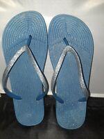 Women's Blue Glitter Flip-flops Sturdy Size 9 - 10