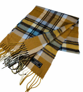 """Geoffrey Beene Made in Italy Cashme Acrylic Brown Scarf Plaid Fringed 12""""X56"""""""