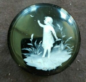 Antique Mary Gregory Glass Round Trinket Box c1900
