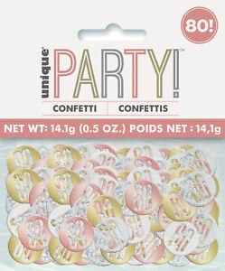 80th Birthday Rose Gold Glitz Table Confetti Age 80 Table Decoration