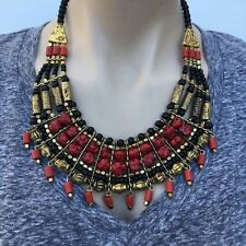 NL-167 Antique Handmade Nepalese Artisan Tibetan Turquoise Coral Necklace