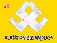 """connettore giunto striscia led a """"X"""" 5050 2 pin 10mm 5 pezzi (C130)"""