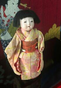 TINY SIGNED ICHIMATSU DOLL*GOFUN*LAYERED SILK KIMONO*SMILING*OPEN MOUTH w/TEETH