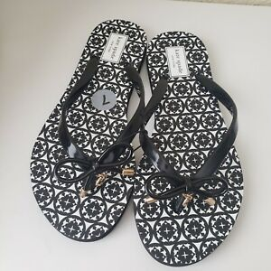 KATE SPADE Black & White Print Thong Flip Flop Sandals Size:7 (New) no box