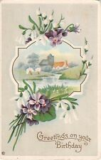 Lovely Snowdrops & Violets Around a River Scene-Old Birthday PC-Series 322 C