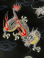 Japanese large dragons fabric, black or red, asian chinese oriental cotton