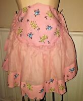 Half Apron Pink Cotton Voile Green Blue Roses Gathered Flounce Vtg 60s Unused