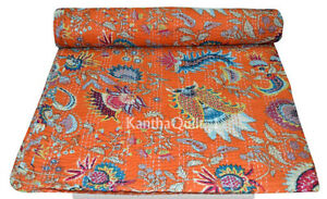 Indian Handmade Floral Kantha Quilt Reversible Bedspread Twin Cotton Coverlet