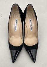 Manolo Blahnik BB Suede Stiletto Pumps Black Patent Leather Toe Cap Size 4/37