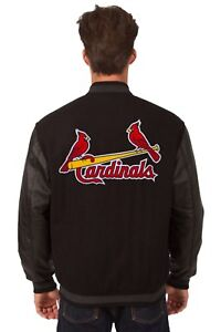 St. Louis Cardinals Wool & Leather Reversible Jacket with Embroidered Logos Blk