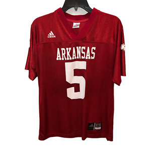 Arkansas Razorbacks Adidas Boys Large Red 5 V Neck Short Sleeve Mesh Jersey Sz L