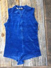 Vintage Blue 70s Velour Beach Shorts Romper Coverup S/M Sunsuit Jumpsuit Zip Up