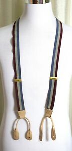 """BLUE GRAY RED STRIPED ELASTIC BEIGE LEATHER BUTTON Y-BACK 1""""Wide SUSPENDERS (P35"""