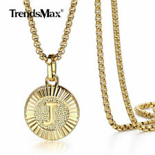 Gold Plated Initial Letter Pendant Necklace Stainless Steel 18-24INCH Box Chain