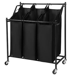 Rolling Laundry Sorter Cart 3-Bag Heavy Duty Sorting Hamper  W/ Removable Bag