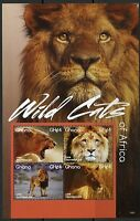 GHANA 2015 WILD CATS OF AFRICA SHEET II  MINT NH
