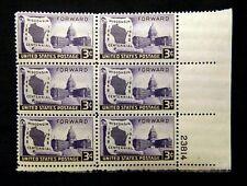 US Plate Blocks Stamps #957 ~ 1948 WISCONSIN CENTENNIAL 3c Plate Block 6 MNH