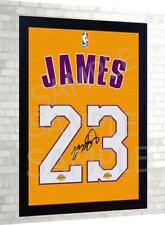 Lebron James LALakers basket NBA signed Jersey t-shirt Canvas 100% cotton Framed