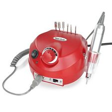 Red Electric Acrylic Nail Drill Manicure Pedicure Kit Pedal File Buffer 36 Bits