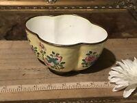 "Asian Cloisonne Enamel Scalloped Bowl Yellow w/Pink & Blue Floral 5 1/2""x4 3/8"""