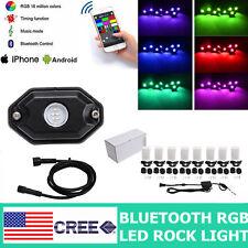 8PCS LED Rock Light Pod Aluminum Wireless Bluetooth RGB Color Under Car JEEP RZR
