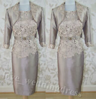 Graceful Mother of the Bride Dress FREE Jacket Knee Length Evening Party MumGown